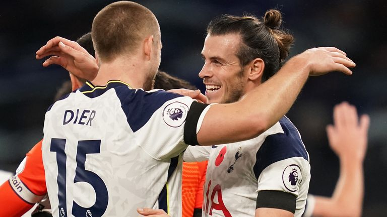 Gareth Bale is congratulated after scoring Tottenham's winner against Brighton
