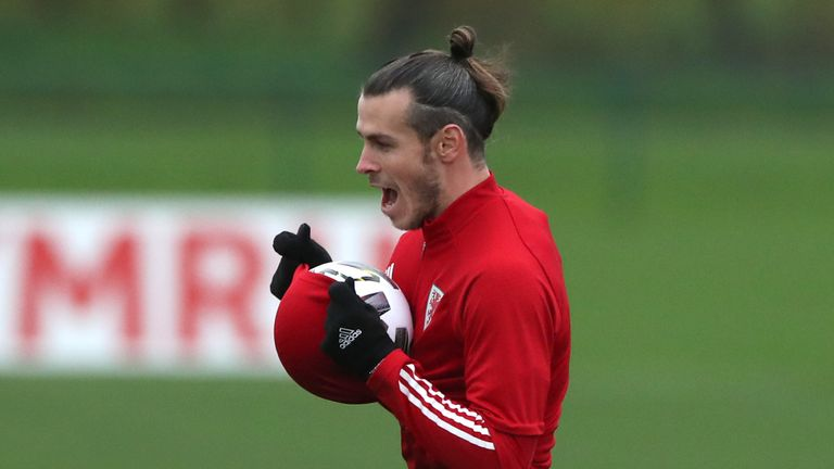 Gareth Bale enjoying himself at Wales training ahead of Republic of Ireland and Finland games in Nations League