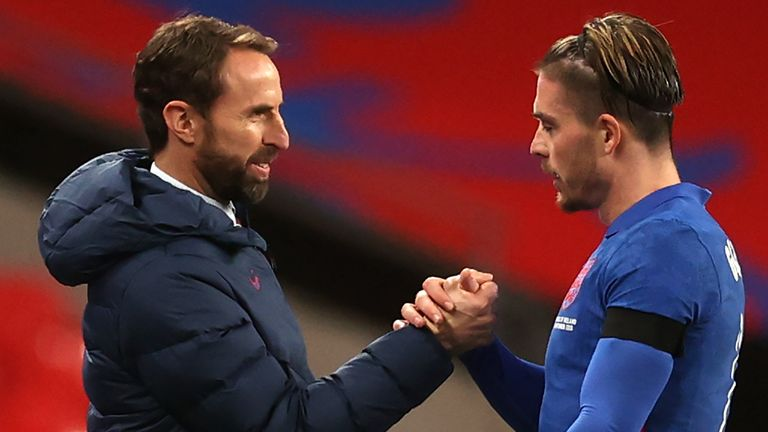 Jack Grealish is congratulated by Gareth Southgate after being substituted in England's win over Republic of Ireland at Wembley