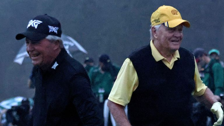 Player and Jack Nicklaus got the 84th Masters underway in the rain