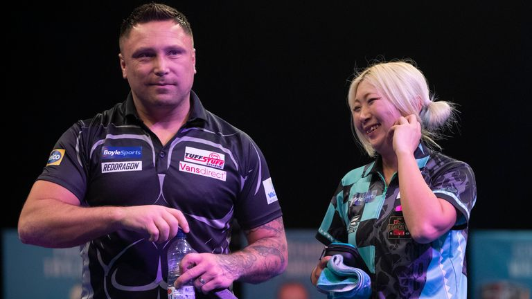 Gerwyn Price survived four missed match darts from Mikuru Suzuki to start his bid for a third successive Grand Slam of Darts title with victory