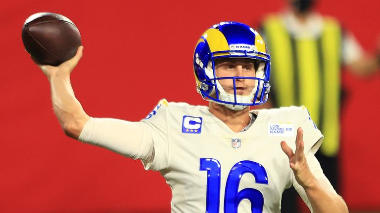 Jared Goff #16 of the Los Angeles Rams looks to pass during the fourth quarter in the game against the Tampa Bay Buccaneers