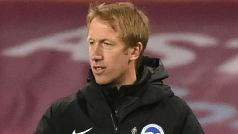 Graham Potter congratulates Danny Welbeck after Brighton's 2-1 win at Villa Park