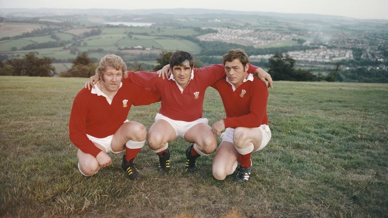 Pontypool and Wales' famous front rowers, from left to right Graham Price, Bobby Windsor and Charlie Faulkner