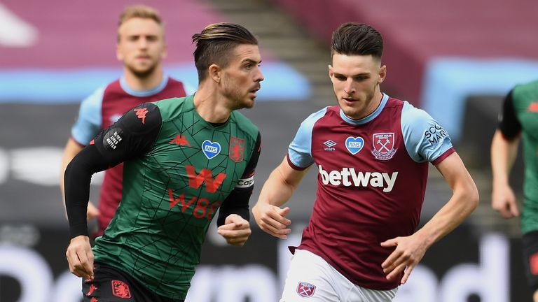 Jack Grealish (kiri) mewakili Rep Irlandia di level U21, Declan Rice (kanan) di level senior