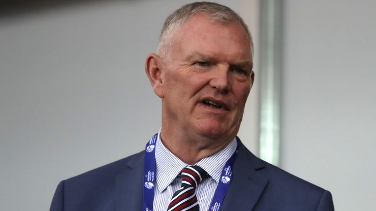 Greg Clarke (left) pictured while attending the UEFA European Under-21 Championship in 2017