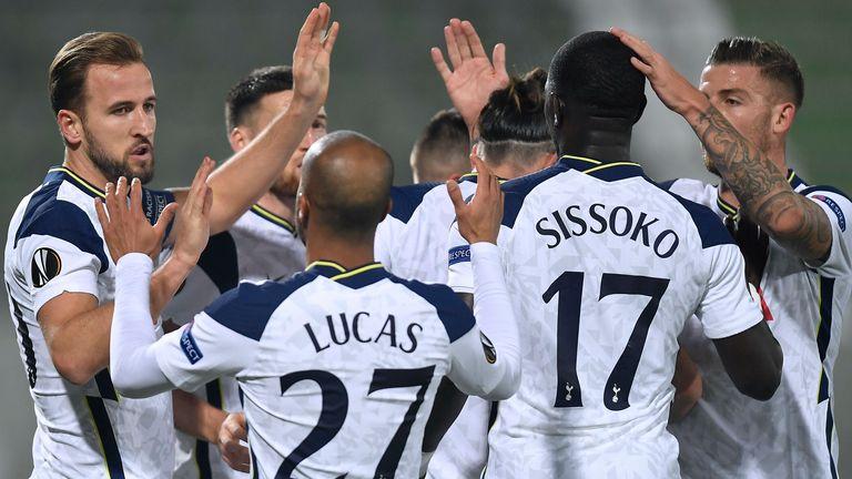 Harry Kane celebrates after opening the scoring against Ludogorets