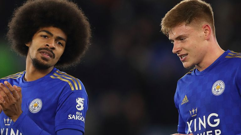 Hamza Choudhury and Harvey Barnes of Leicester City at full time of the FA Cup Fifth Round match between Leicester City and Birmingham City at The King Power Stadium