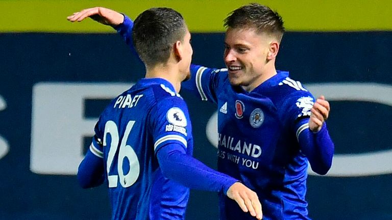Harvey Barnes celebrates after giving Leicester City an early lead at Leeds United