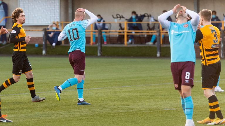 Hearts' Olly Lee (right) and Jamie Walker (right) are left frustrated during the Betfred Cup match against Alloa Athletic