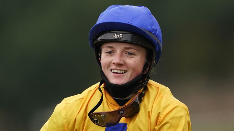 Jockey Hollie Doyle after winning the Phil Bull Trophy Conditions Stakes on Stag Horn at Pontefract Racecourse.