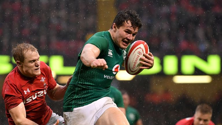 Jacob Stockdale in action for Ireland