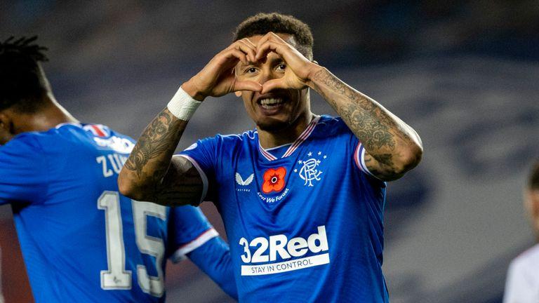 Rangers' James Tavernier celebrates after making it 8-0 against Hamilton