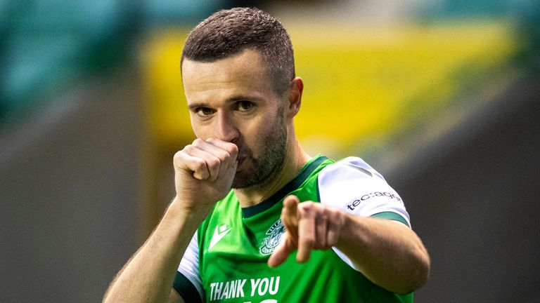 Jamie Murphy celebrates after scoring to make it 1-0 during a Scottish Premiership match between Hibernian and Celtic at Easter Road