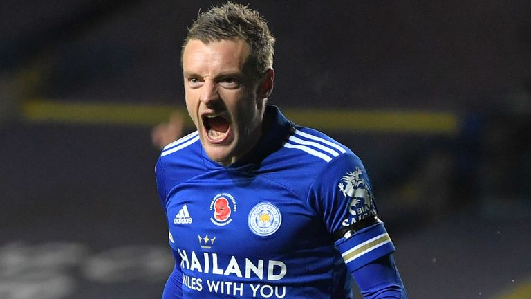 Jamie Vardy scored Leicester City's third goal at Leeds United