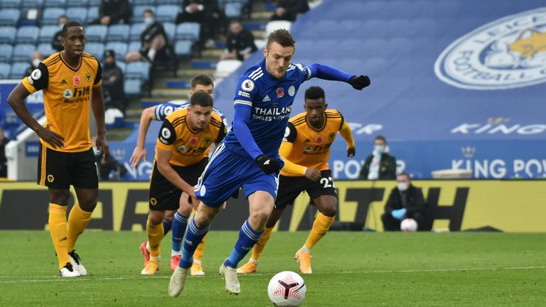Jamie Vardy has scored five of the six penalties he has taken this season, winning three of them himself