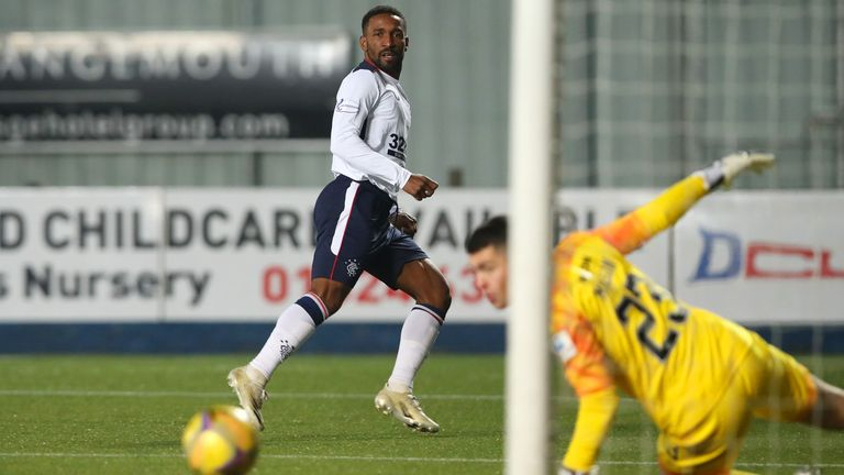 Jermain Defoe of Rangers scores their team's first goal during the Betfred Cup match between Falkirk and Rangers FC at Falkirk Community Stadium on November 29, 2020 in Falkirk, Scotland