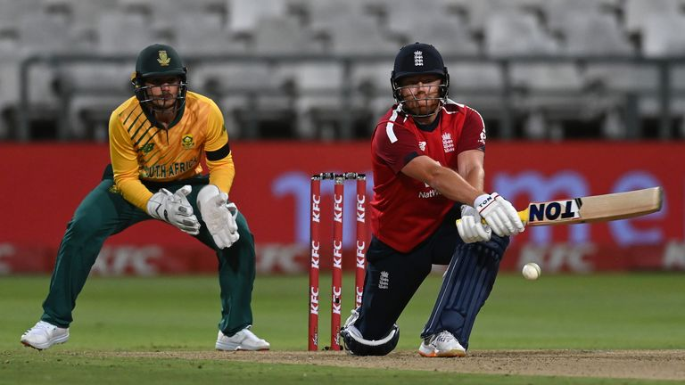 England's Jonny Bairstow reverse sweeps on his way to 86no at Newlands Stadium