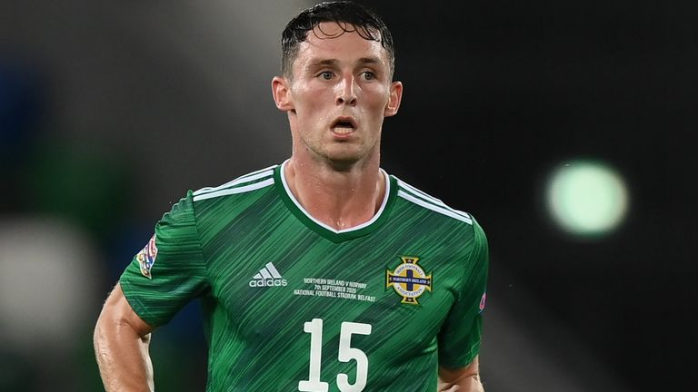 7 September 2020; Jordan Thompson of Northern Ireland during the UEFA Nations League B match between Northern Ireland and Norway at the National Football Stadium at Windsor Park in Belfast. Photo by Stephen McCarthy/Sportsfile