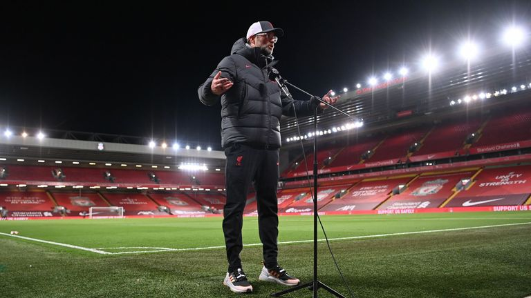 Jurgen Klopp has questioned the logic behind crowd limits