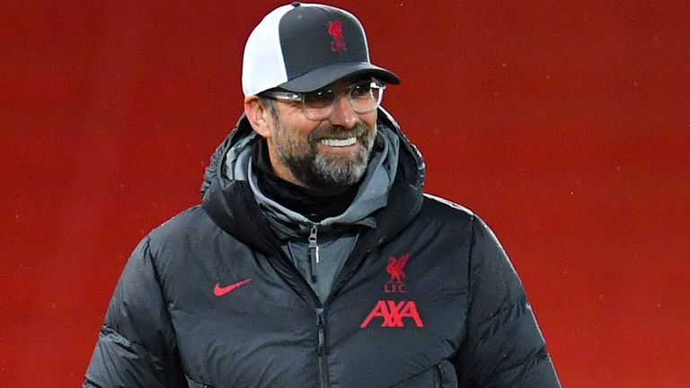 Jurgen Klopp, Manager of Liverpool looks on during the UEFA Champions League Group D stage match between Liverpool FC and Atalanta BC at Anfield on November 25, 2020 in Liverpool, England. Sporting stadiums around the UK remain under strict restrictions due to the Coronavirus Pandemic as Government social distancing laws prohibit fans inside venues resulting in games being played behind closed doors. (Photo by Paul Ellis - Pool/Getty Images)