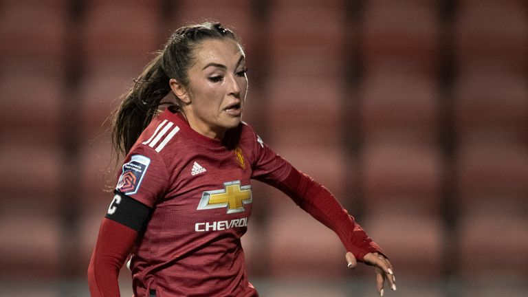 Katie Zelem of Manchester United in action during the FA Women's Continental League Cup match between Manchester United and Manchester City at Leigh Sports Village
