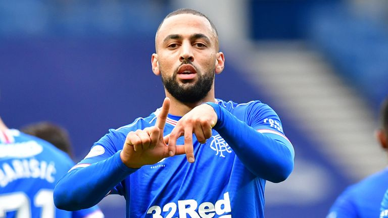 Kemar Roofe celebrates after putting Rangers 2-0 up against Aberdeen