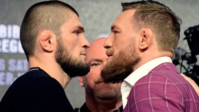 Lightweight champion Khabib Nurmagomedov faces-off with Conor McGregor during the UFC 229 Press Conference at Radio City Music Hall on September 20, 2018 in New York City.