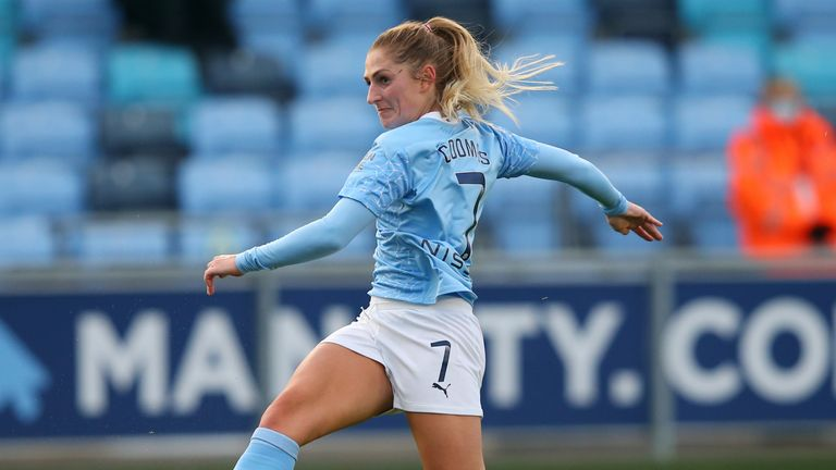 Laura Coombs of Manchester City scores her sides second goal during the Barclays FA Women's Super League match between Manchester City Women and Bristol City Women at Manchester City Football Academy on November 07, 2020 in Manchester, England