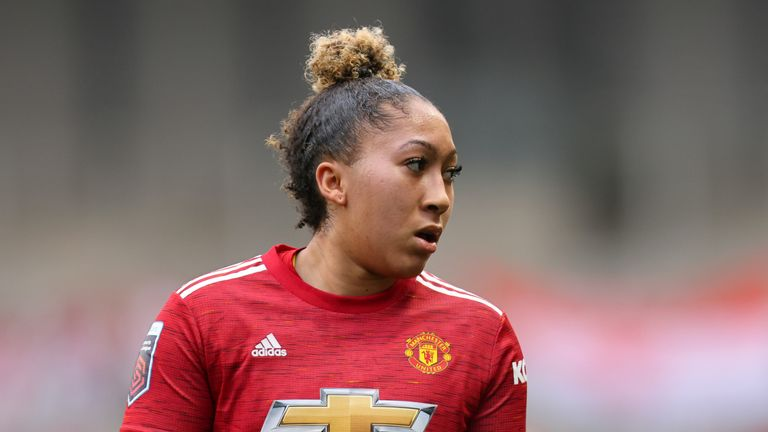 Lauren James of Manchester United Women during the Barclays FA Women's Super League match between Manchester United Women and Manchester City Women at Leigh Sports Village on November 14, 2020 in Leigh, England