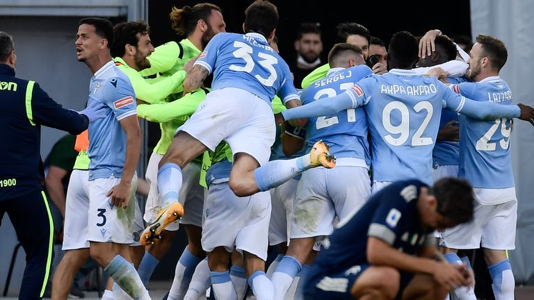 Lazio celebrate their late equaliser against Juventus