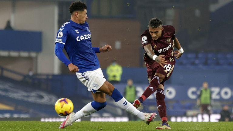 Leeds United's Raphinha (right) scores against Everton