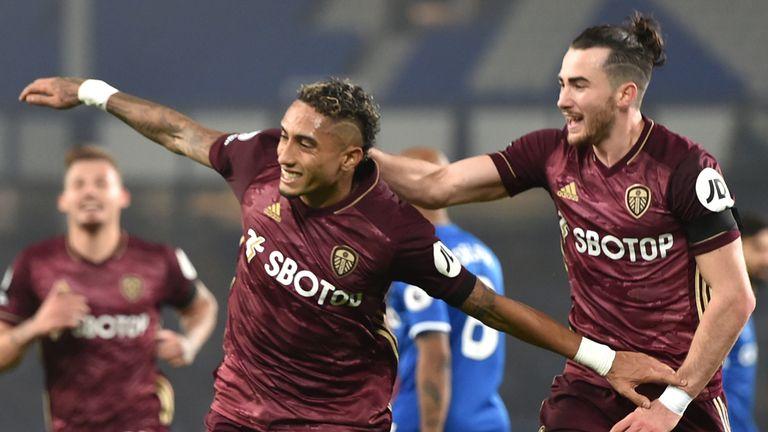 Leeds United's Raphinha celebrates scoring against Everton