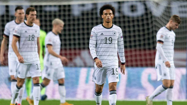 Leroy Sane reacts after one of Spain's goals