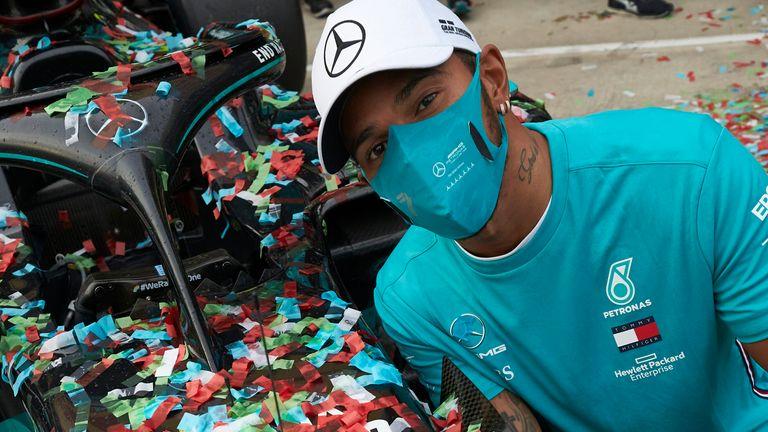 Lewis Hamilton celebrates Mercedes' latest world title success last Sunday at Imola