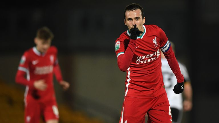 Liam Miller of Liverpool after scoring his side's opening goal during the EFL Trophy group match between Port Vale and Liverpool U21
