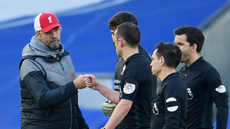 Liverpool's Jurgen Klopp remonstrates with the match officials at Brighton