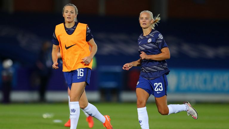 Eriksson has been joined by her partner Pernille Harder at Chelsea this season. The Dane signed for a world-record fee of more than £250,000 from Wolfsburg.