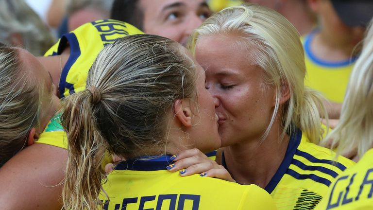 Harder was in attendance when Eriksson's Sweden side made it through to the World Cup semi-finals by beating Canada in Paris.