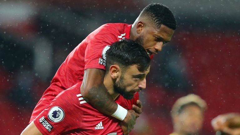 Bruno Fernandes celebrates with Fred after putting Manchester United ahead against West Brom
