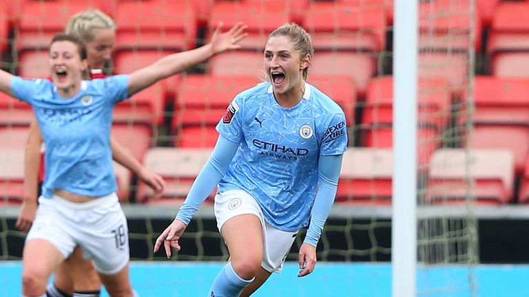 Laura Coombs of Manchester City Women celebrates after scoring their second goal during the Barclays FA Women's Super League match between Manchester United Women and Manchester City Women at Leigh Sports Village on November 14, 2020 in Leigh, England.