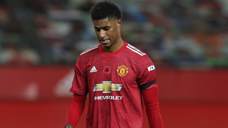 Marcus Rashford looks dejected after the game