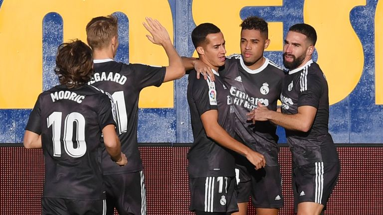 Mariano is congratulated after giving Real Madrid an early lead