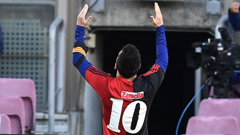 Lionel Messi revealed a Newells Old Boys shirt and raised his arms to the sky in tribute to Diego Maradona after scoring in Barcelona's win over Osasuna