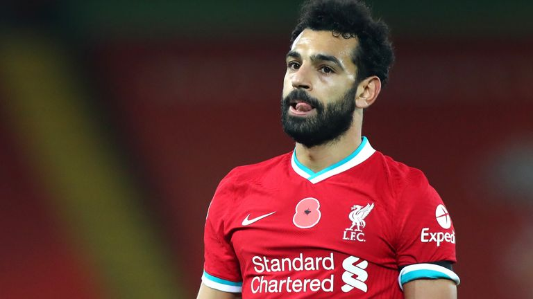 Mohamed Salah during a Premier League match between Liverpool and West Ham United