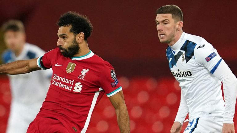 Mohamed Salah in action for Liverpool against Atalanta