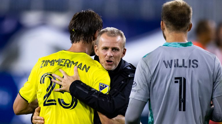 NASHVILLE, TN - AUGUST 30: Head coach Gary Smith of Nashville SC celebrates with Walker Zimmerman #25 and Joe Willis #1 after the match against the Inter Miami at Nissan Stadium on August 30, 2020 in Nashville, Tennessee. Nashville defeats Miami 1-0.