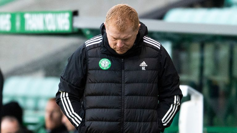 Celtic boss Neil Lennon cuts a dejected figure during the dramatic encounter