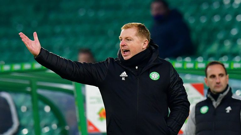 Lennon on the touchline during Celtic's defeat to Ross County