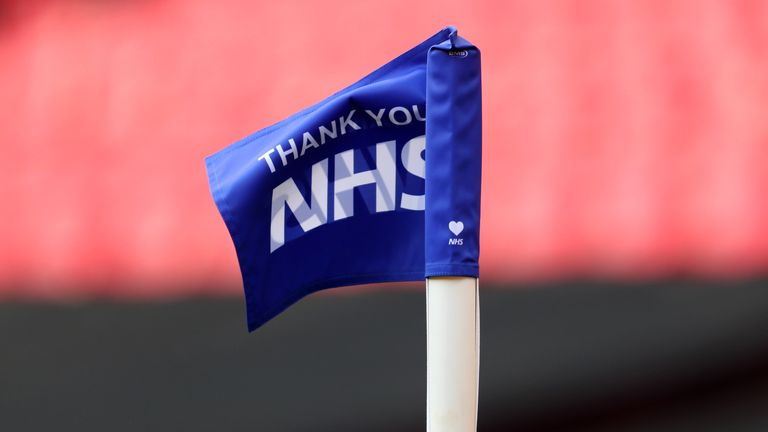 LONDON, ENGLAND - AUGUST 02: The Corner flag with the message Thank you NHS during the Vanarama National League Play Off Final match between Harrogate Town and Notts County at Wembley Stadium on August 02, 2020 in London, England. (Photo by Catherine Ivill/Getty Images